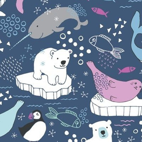 Arctic Animal Icebergs - blue and raspberry