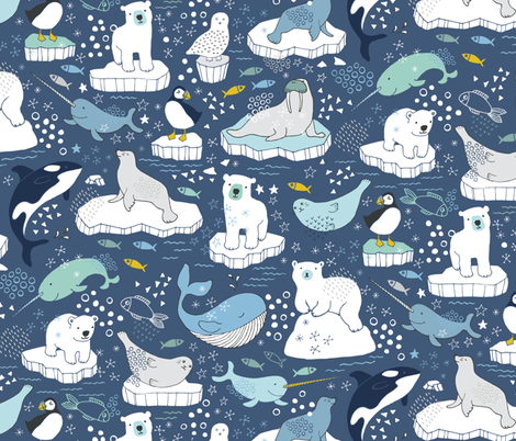 Arctic Animal Icebergs - blue and mustard fabric by cecca on Spoonflower - custom fabric