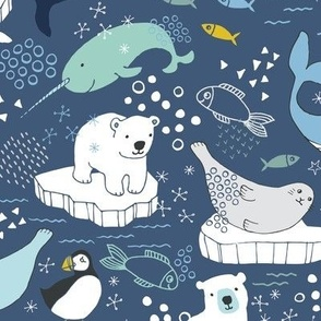 Arctic Animal Icebergs - blue and mustard