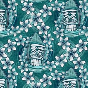 ★ HAWAII TIKI ★ Teal - Small Scale / Collection : Hawaiian Trip - Plumeria & Tiki for Aloha Shirt Print
