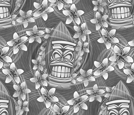 19 Hawaiian Tiki Print Pattern In Black And White Aloha