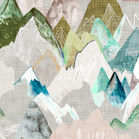 Call of the Mountains (misty) MED fabric by nouveau_bohemian on Spoonflower - custom fabric