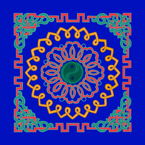 red, orange, green Ornaments on blue