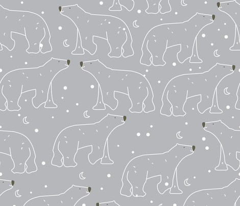 Arctic Animals Polar Bear Night Sky fabric by art-with-ali on Spoonflower - custom fabric