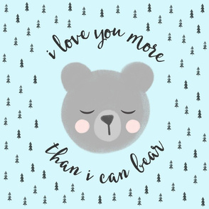 "18"" square - I love you more than I can bear - trees - blue"