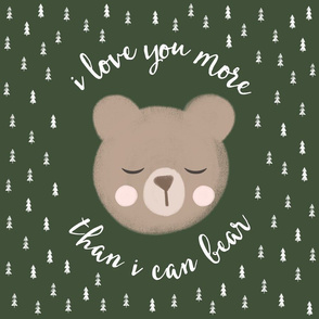 """18"""" square - I love you more than I can bear - trees on green"""