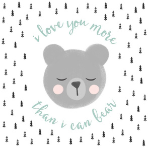 "18"" square - I love you more than I can bear - trees - blue and black"