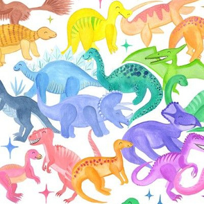 Rainbow Dinosaur Alphabet | Jurassic Watercolour
