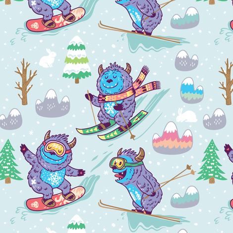 Extreme with yeti fabric by penguinhouse on Spoonflower - custom fabric