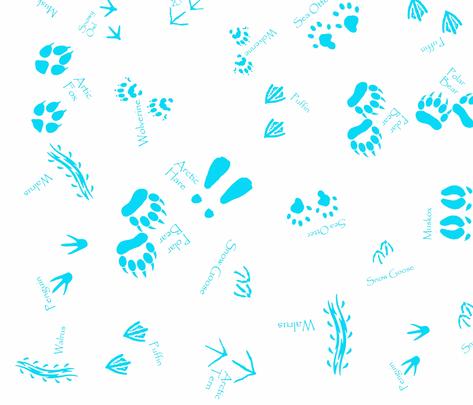 Artic animal tracks by kedoki fabric by kedoki on Spoonflower - custom fabric