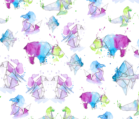 Arctic Origami fabric by gingerlique on Spoonflower - custom fabric