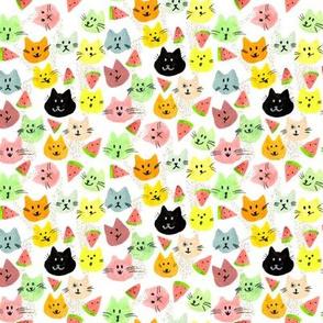 Kitty Melon Party | Rainbow Watercolour Cats & Watermelon Slices