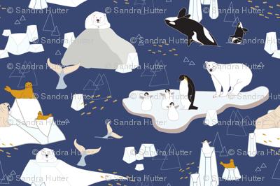 Arctic animals floating on icebergs