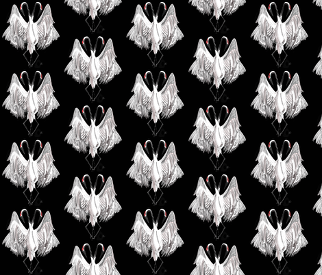 Crane Dance fabric by four-letter_fabric on Spoonflower - custom fabric