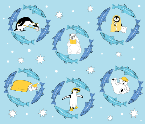 Penguins and Fishes and Bears _ oh my fabric by alohajean on Spoonflower - custom fabric