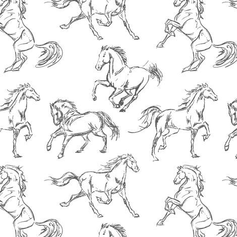 Grey Horse Sketches fabric by thinlinetextiles on Spoonflower - custom fabric