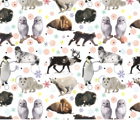arctic animals challenge fabric by afrodutchkins on Spoonflower - custom fabric