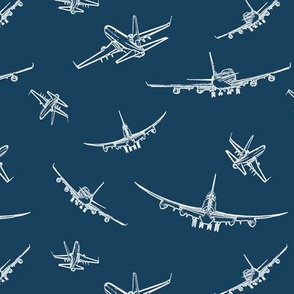 Plane Sketches on Navy Blue // Small