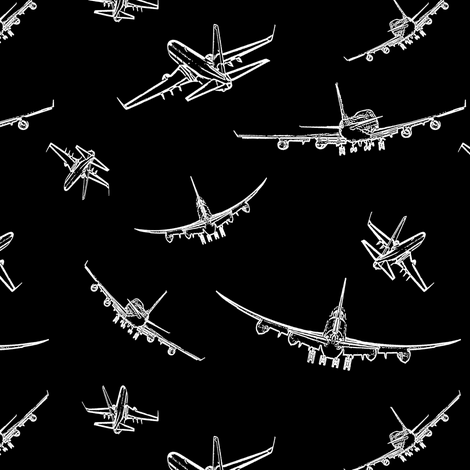 Plane Sketches on Black // Small fabric by thinlinetextiles on Spoonflower - custom fabric