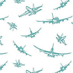Teal Plane Sketches // Small