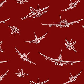 Plane Sketches on Maroon // Small