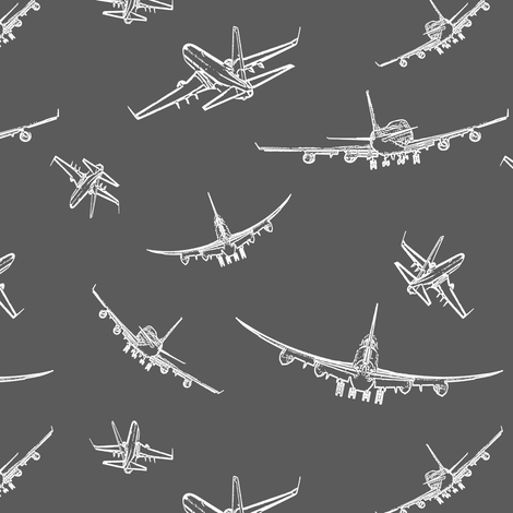 Plane Sketches on Dark Grey // Small fabric by thinlinetextiles on Spoonflower - custom fabric