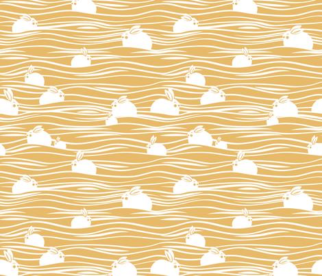 Arctic hares // yellow fabric by selmacardoso on Spoonflower - custom fabric