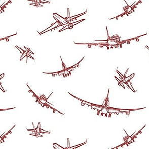 Burgundy Plane Sketches // Small
