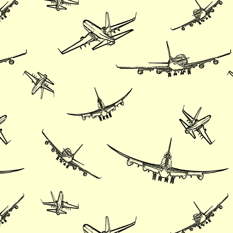 Plane Sketches on Yellow // Small fabric by thinlinetextiles on Spoonflower - custom fabric
