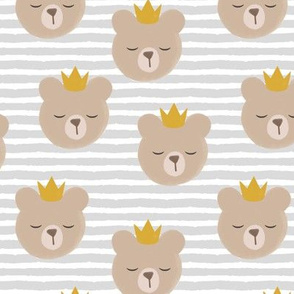 bears with crowns - grey stripes