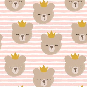 bears with crowns - rose stripes
