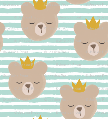 bears with crowns - dark mint stripes