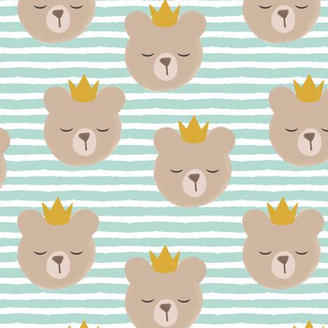 bears with crowns - dark mint stripes fabric by littlearrowdesign on Spoonflower - custom fabric