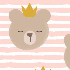 (large scale) bears with crowns - rose stripes
