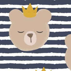 (large scale) bears with crowns - adventure blue stripes