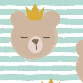 (large scale) bears with crowns - dark mint stripes