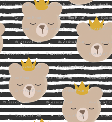 bears with crowns - dark grey stripes