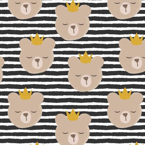 bears with crowns - dark grey stripes fabric by littlearrowdesign on Spoonflower - custom fabric