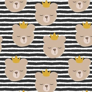 bears with crowns - dark grey stripes