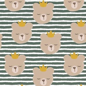 bears with crowns - adventure green stripes
