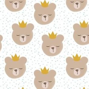 bears with crowns - dark mint polka