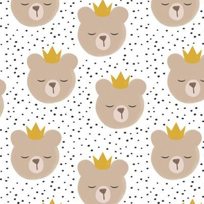 bears with crowns - grey polka