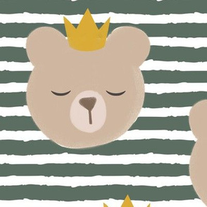 (large scale) bears with crowns- adventure green stripes