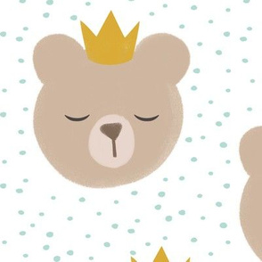 (large scale) bears with crowns - dark mint polka