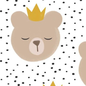 (large scale) bears with crowns - grey polka