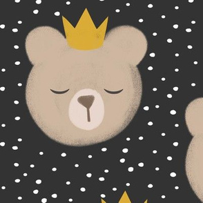 (large scale) bears with crowns - polka on grey