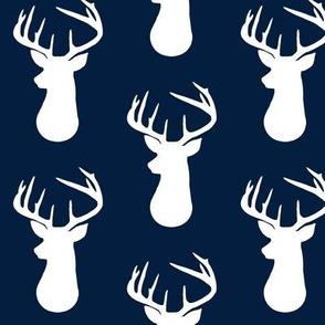 Navy + White Deer Buck Silhouette – Woodland Baby Boy Nursery Bedding