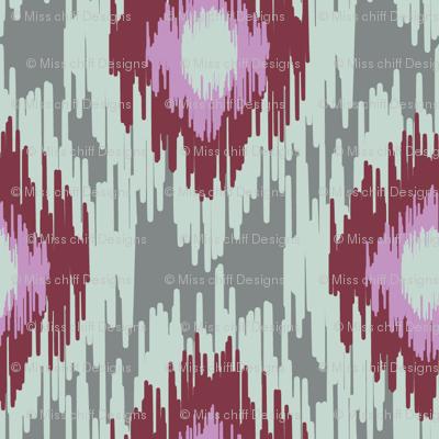Modern Spring Ikat Dark red Maroon Blue Gray Green Grey Lilac Purple _ Miss Chiff Designs