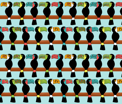 Tattooed Toucans fabric by mgdoodlestudio on Spoonflower - custom fabric