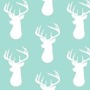 Mint + White Deer Buck Silhouette – Woodland Baby Nursery Bedding